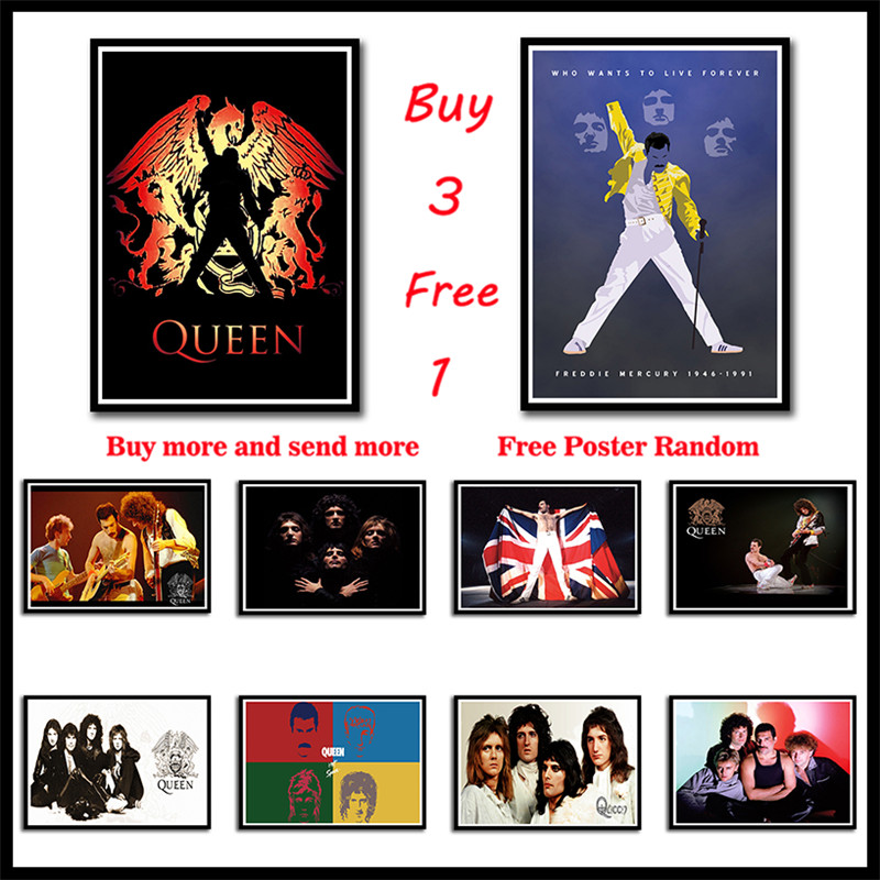 Queen Rock Music Poster Coated Paper Posters Bar Cafe Home Decor Painting Wall Sticker Frameless