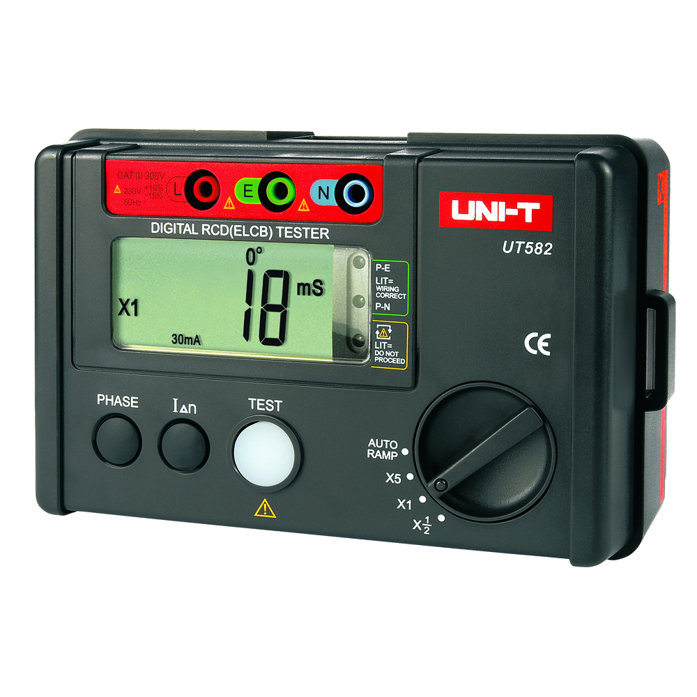UNI-T UT582 Digital RCD (ELCB) Tester AUTO RAMP Leakage Circuit Breaker Meter with Mis-Operation Buzzer Leakage protection switc ut581 digital rcd tester meter leakage circuit breaker