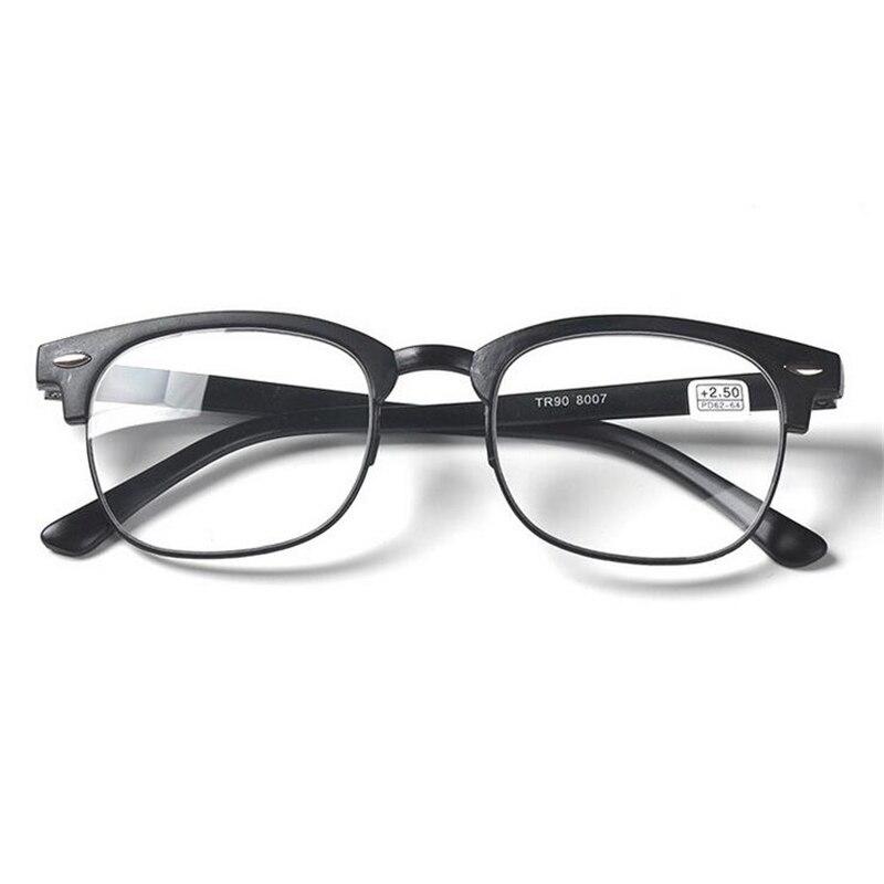 Ультра-легкие TR90 очки для чтения унисекс с плоскими стеклами и половинной рамкой лупа очки коричневый/черная оправа+ 1,0+ 1,5+ 2,0+ 2,5+ 3,0+ 3,5+ 4,0 - Цвет оправы: Black