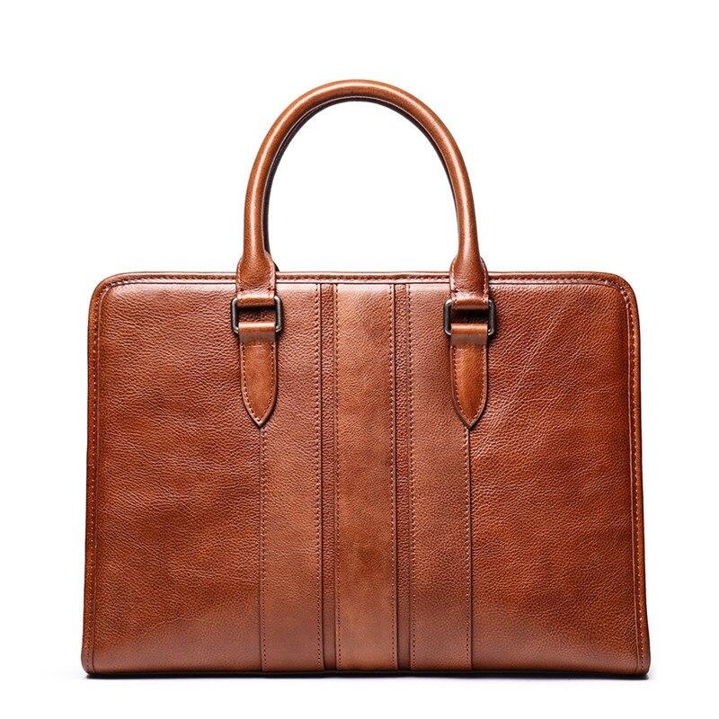 Nesitu Highend Vintage Brown Coffee Vegatable Tenned Genuine Leather Office Men Briefcase Portfolio Business Messenger Bag M9272