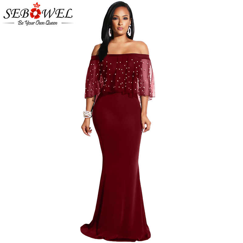 d00b36cbb95 ... Pearl Mesh Black Mermaid Party Dress Women Elegant Long Maxi Bodycon Evening  Party Dress Plus Size ...