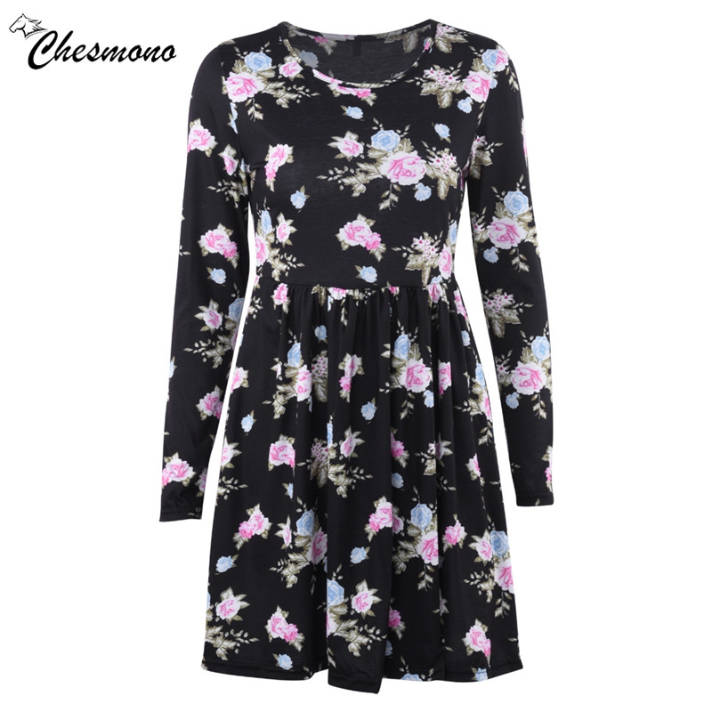 2018 spring Women floral print Dress Casual waist Long Sleeve Round Neck Tunic Stretch Mini Robes Xmas Party dresses