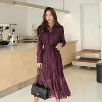 Spring Hollow out Lace Women Long Dress with Belt Single Breasted Elegant Mermaid Female Dress Full Sleeve Autumn Vestidos femme