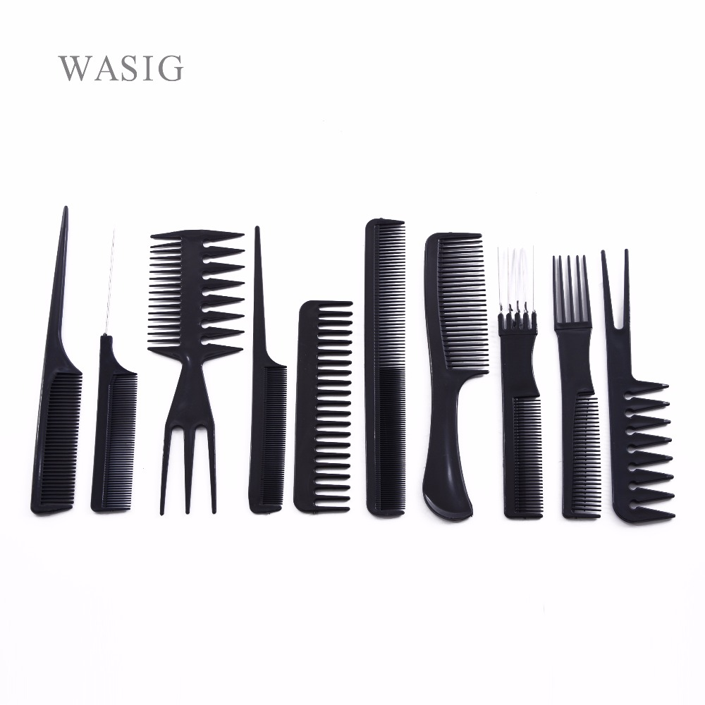 10 Pcs/Set Professional Hair Brush Comb Salon Barber Anti-static Hair Combs Hairbrush Hairdressing Combs Hair Care Styling Tools