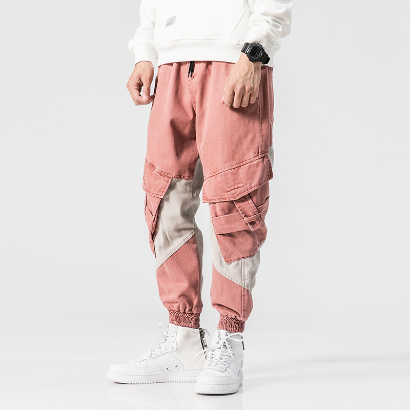 2018 High Street Fashion Men Jeans Pink Color Big Pocket Cargo Pants Spliced Hip Hop Jogger Jeans Loose Fit Tapered Pants Men