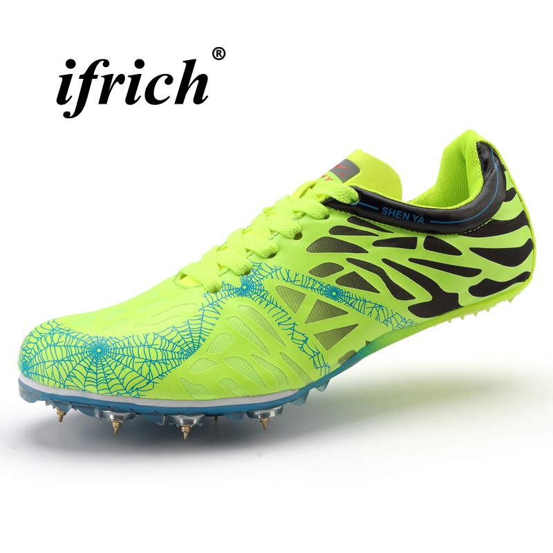 2018 New Men Women Track and Field Shoes Lightweight Running Spike Sneakers Couples Track Shoes Spikes Brand Trainers gogoruns men sprint spikes running shoes boy students examination track and field nail shoes sneakers men