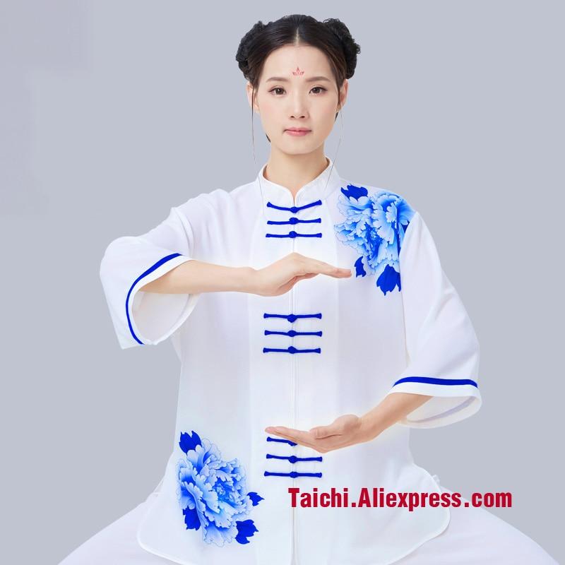 Printing Male Female Tai Chi Uniform Wushu Kung Fu Martial Art Suit  Performance Clothing Chinese Style  Acket Pants