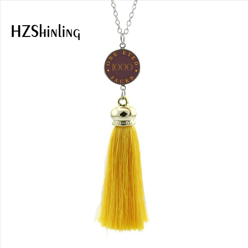 2017 New Style Twin Peaks Tassel Necklace TV Inspired Jewelry Silver Long Pendant Necklaces Glass Cabochon Pendants Gifts Fans