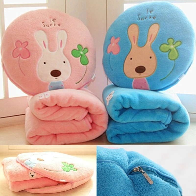 Lovely Sugar Rabbit Air Conditioning Blanket Dual-Purpose Blanket for Children Nap Soft Staffed Rabbit Pillow Cushion