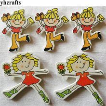 10PCS/LOT Shopping girl Happy mother wood stickers Decorative stickers Kindergarten crafts Fridge stickers wall stickers DIY toy(China)
