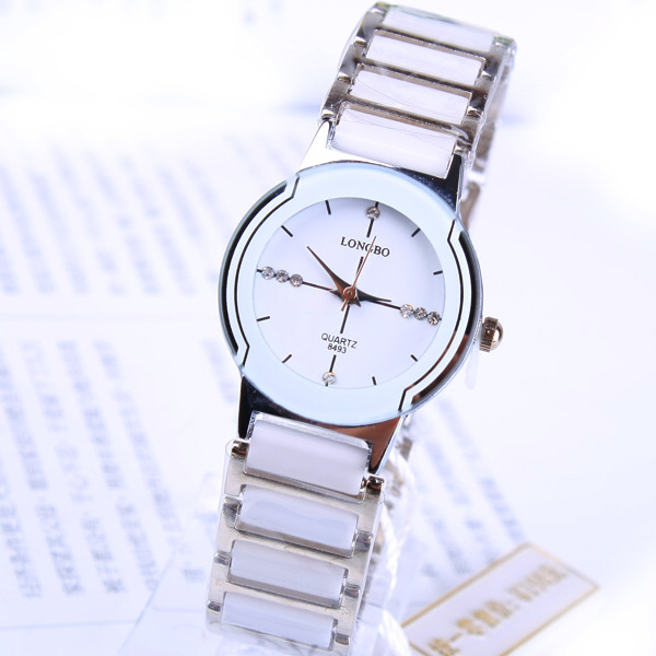 LONGBO Luxury Brand Female Relogio Feminino Business Women Dress Rhinestone Reloj Mujer Imitation Clock Ceramic Quartz Watches longbo luxury brand fashion quartz watch blue leather strap women wrist watches famous female hodinky clock reloj mujer gift