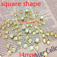 Big Promotions For 2000pcs/lot 14x14mm Square Metal Claw Setting Gold Closed Back For Sewing On Square Shape All Material Stone
