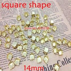 Grandes promociones para 2000 unids/lote 14x14mm garra cuadrada de Metal ajuste dorado cerrado para coser en forma cuadrada todo Material piedra