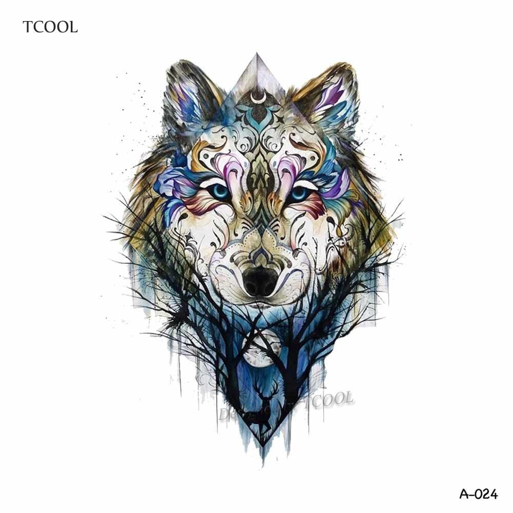 WYUEN Färgglada Wolf Head Tillfälliga Tatueringar Vattentäta - Tatuering och kroppskonst - Foto 2