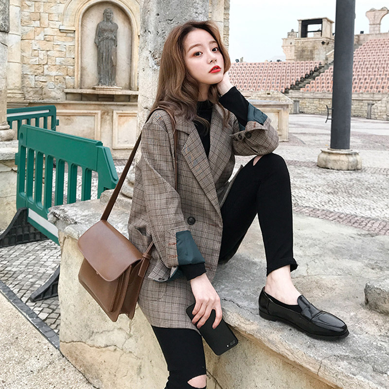 Vintage Double Breasted Office Ladies Plaid Blazer Long Sleeve Loose  Retro Suits Coat Jacket Women Blazers Female 2019