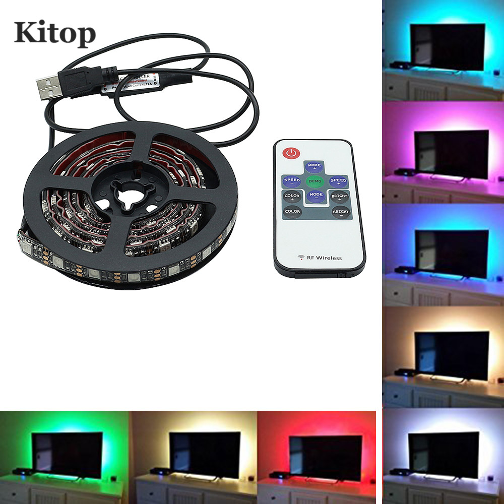 Kitop DC5V TV Backlight RGB Color Changing 5050 USB LED Strip Light Waerproof Flexible led tape