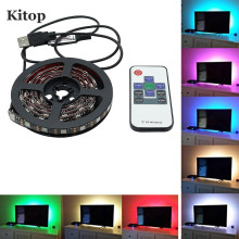 Kitop DC5V TV Backlight RGB Color Changing 5050 USB LED Strip Light Waerproof Flexible led tape with 10key RF Remote Controller