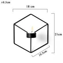 Nordic Style Wall Candle Holder Shelf 3D Geometric Iron Metal Sconce Candlestick Bar Home Decoration DC156