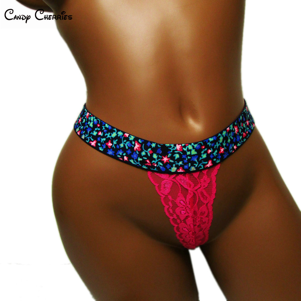 ee2c3584cd3 Hot pink women panties wide elasticband lace sexy thong plus size micro  thong ladies underwear knicker