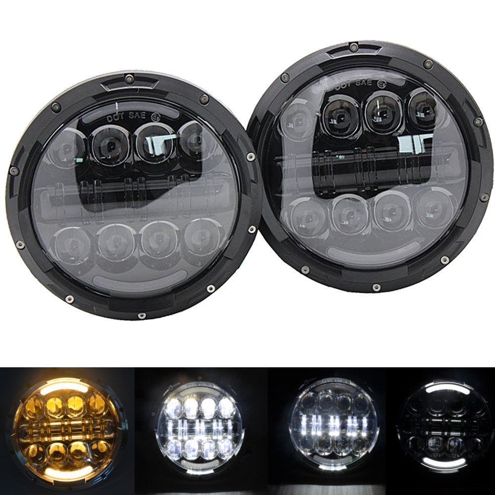 Daymaker led 7 80W Headlight 7inch round headlamp with DRL Turn Signal for Jeep Wrangler JK FJ Cruiser Defender Hummer Harley
