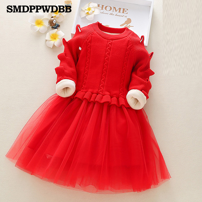 Thick Warm Girl Dress Princess Wedding Party Red Dresses Knitted Velve Winter Kids Girls Clothes Children Clothes Girl Dress