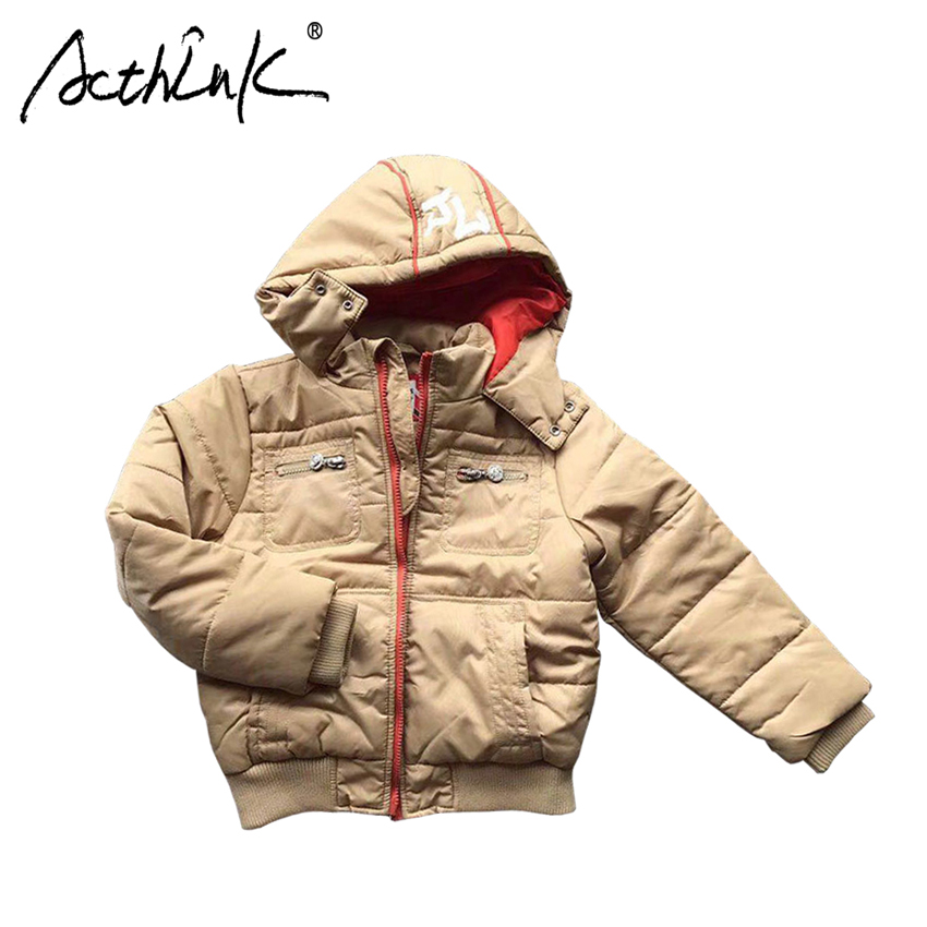 ActhInK New Boys Winter Hooded Hiking Coat Children Cotton Padded Thermal Parka Boys Snow Skiing Costume Winter Jacket for Boys
