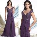 Best Seller Venda Quente Uma Linha Sexy vestido de Noite V Pescoço até o Chão Chiffon Custom Made Mãe da Noiva Vestido Longo W06275