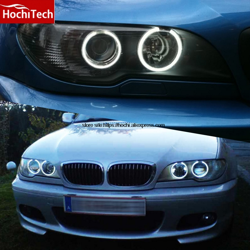 все цены на HochiTech high quality Day Light DRL CCFL Angel Demon Eyes Kit Warm White Halo Ring for BMW E46 convertible facelift with xenon