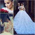 vestido de noiva manga longa 2017 high collar ball gown long sleeves lace wedding dress with cathedral train bridal gowns
