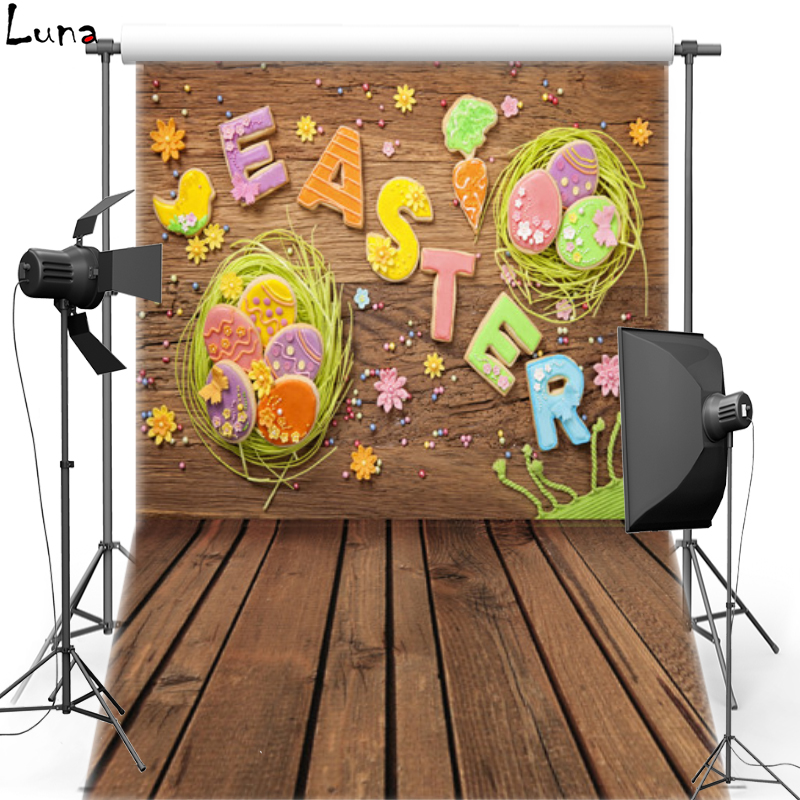 Happy Easter Vinyl Photography Background Cartoon Letter Wooden Floor Oxford Backdrop For photo studio Props 019