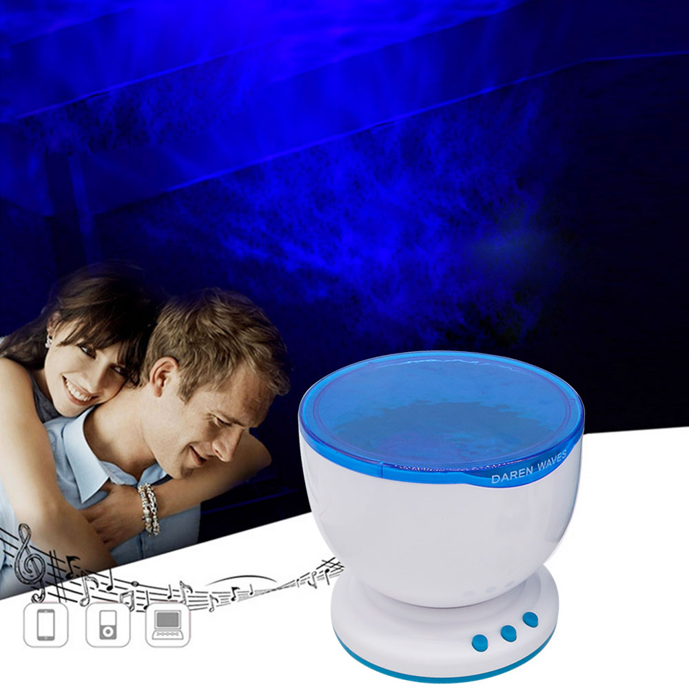 DBF Ocean Wave Projector Lamp,Romantic LED Night Light Projector with Built-in Mini Music Player Relaxing Light Show Mood Lamp ocean wave led night mood light atmosphere lamp projector for kids room ceiling decor with eu plug