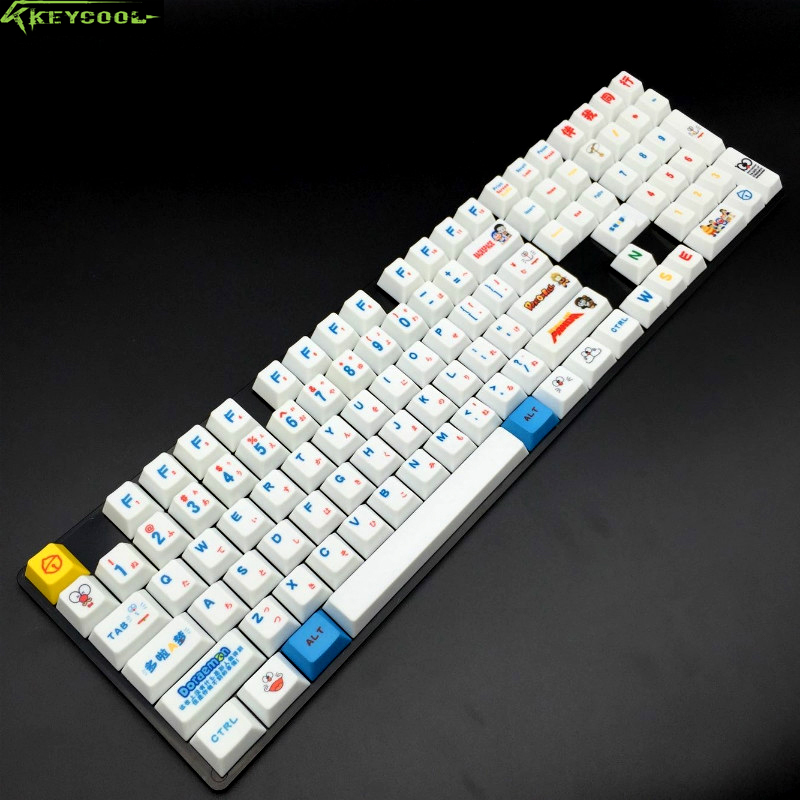 Doraemon Japanese Languag PBT Keycaps Top Printed 109 Keycap Set OEM Profile For Cherry MX Switches Mechanical Gaming Keyboard цена