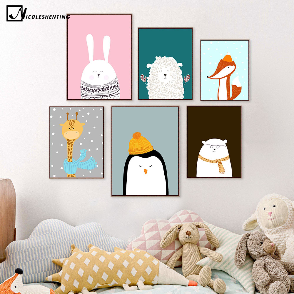 Nordic Art Cartoon Animal Deer Bear Penguin Poster Pintura de la Lona Minimalista Vivero Cuadro de la Pared Niños Habitación Decoración 386