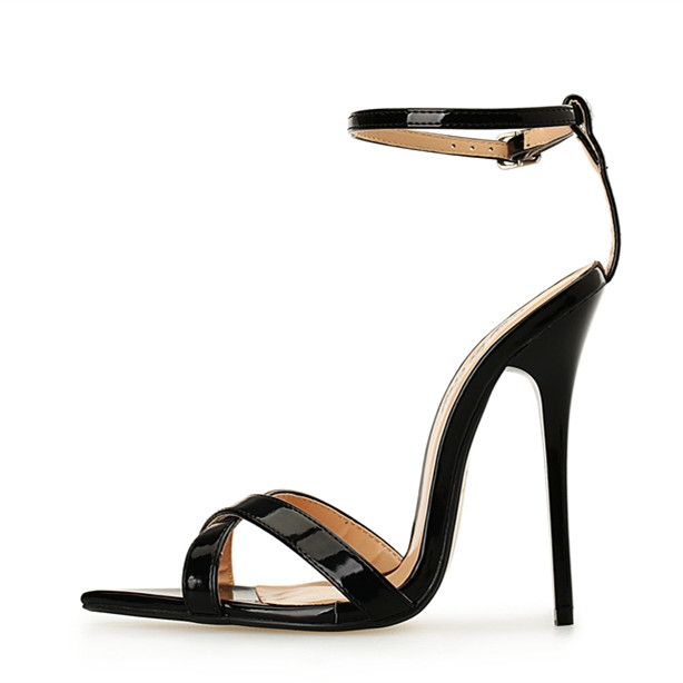 ФОТО 2017 New Lady Sandals High Heels 14cm Stiletto Heel Women Shoes Sexy Ankle Strap Fashion Lady High Heel Sandals Plus Size 40-49