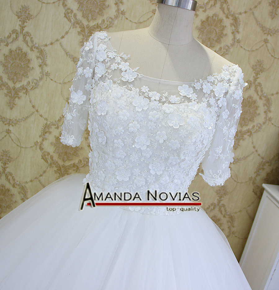 New Arrival Half Sleeve Ball Gown Amanda Novias Wedding Dresses ...