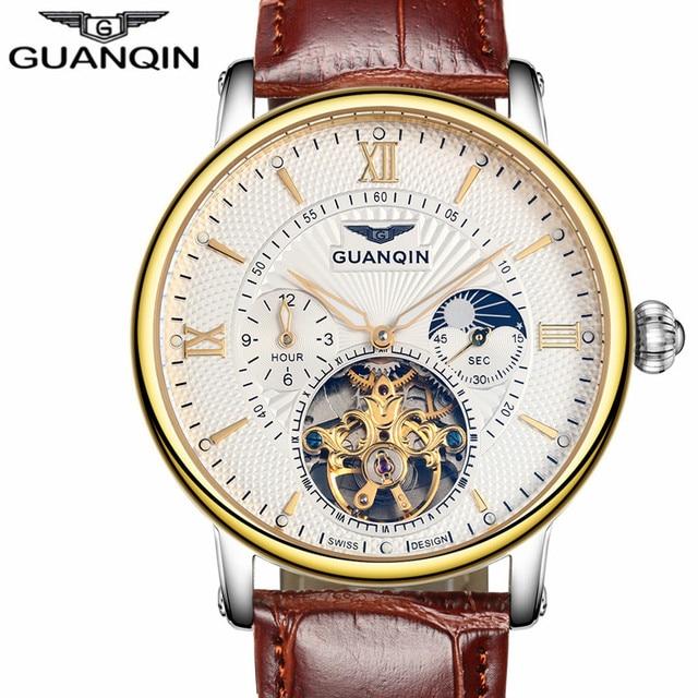 Мужские часы лучший бренд класса люкс GUANQIN 2017 мужчин Watch Sport Tourbillon Автоматическая Механическая Кожа наручные часы Relogio Masculino