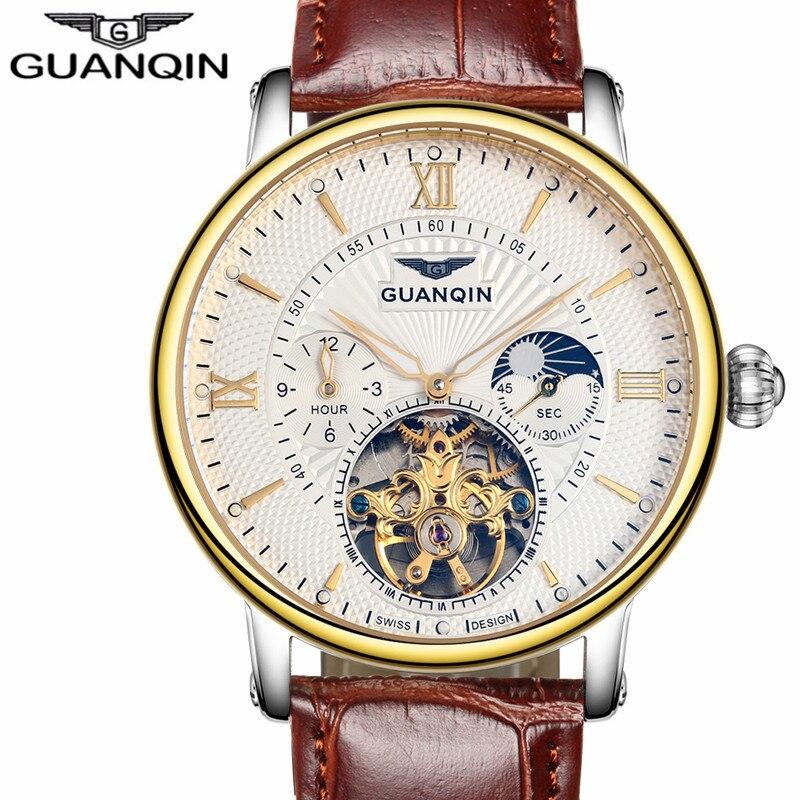 GUANQIN hommes montres haut de gamme de luxe Tourbillon automatique mécanique montre hommes décontracté mode bracelet en cuir squelette montre-bracelet