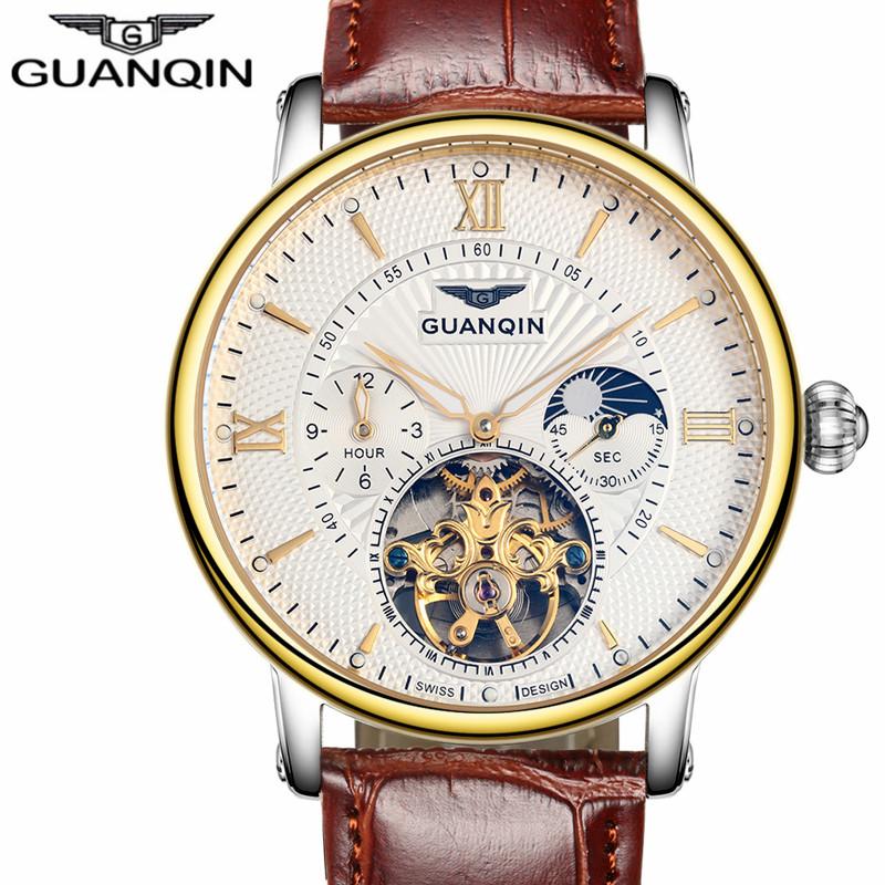 Prix pour Mens montres haut marque de luxe guanqin 2017 hommes montre sport tourbillon automatique mécanique montre-bracelet en cuir relogio masculino
