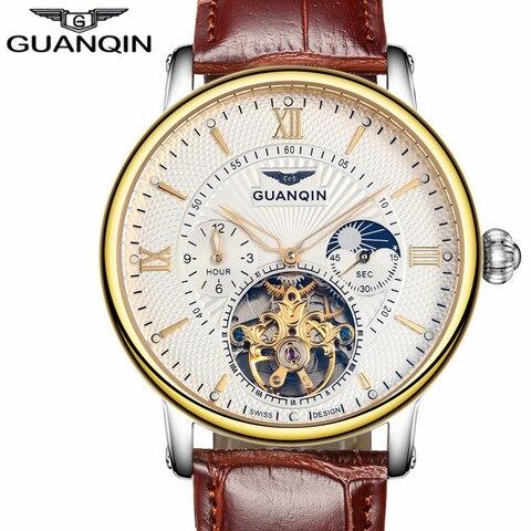 Relógios de Luxo da Marca Pulseira de Couro Relógio de Pulso Guanqin Masculino Superior Tourbillon Relógio Mecânico Automático Casual Moda Esqueleto