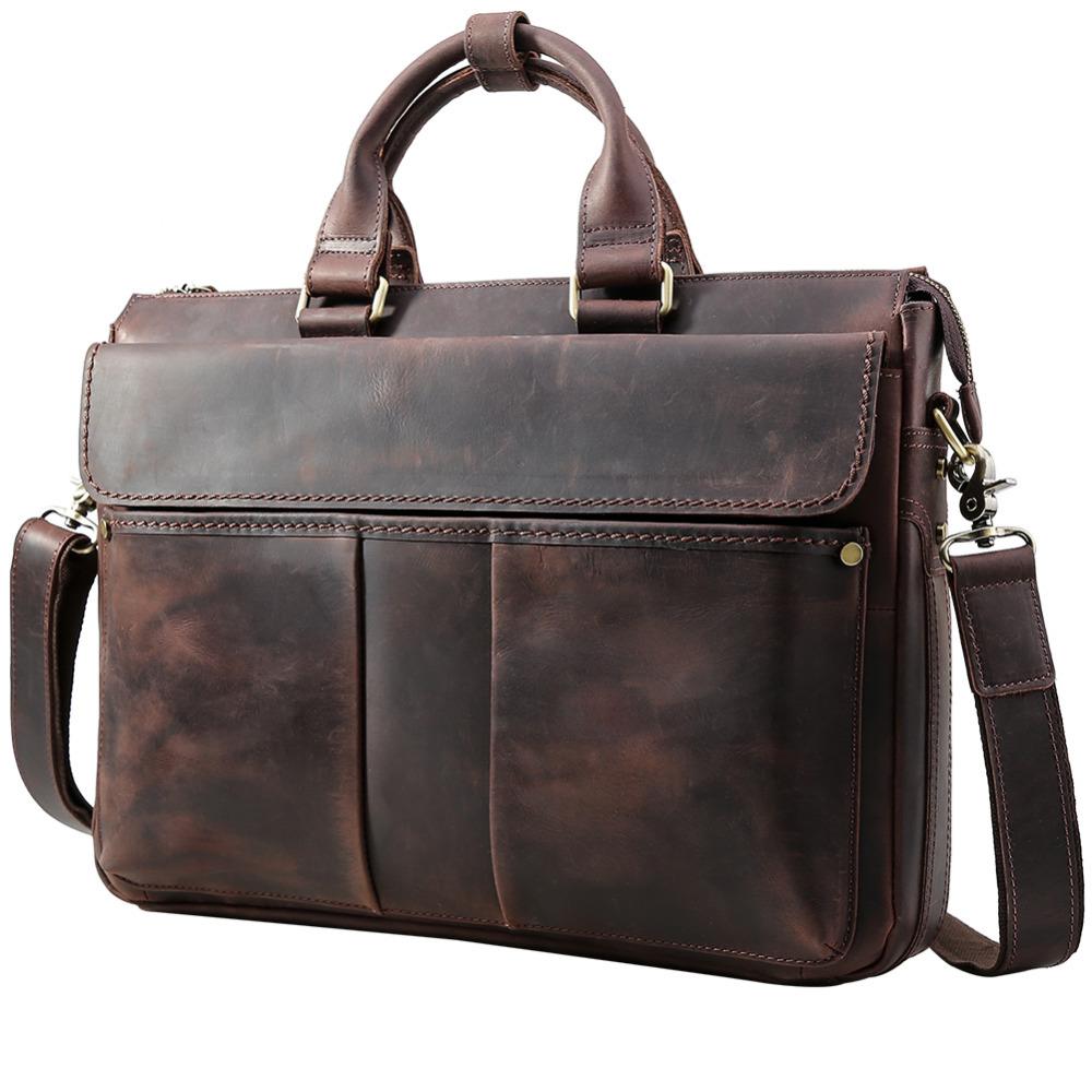 TIDING Genuine leather handbag vintage fashion briefcase for men dark brown laptop bag limited edition 1096 кпб cl 230