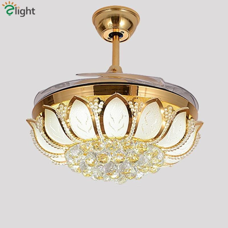 Moderna pieghevole foglia dimmerabile led soffitto ventole lustro di cristallo da pranzo camera led lampada ventilatore a soffitto in metallo oro led ventilatore a soffitto luci