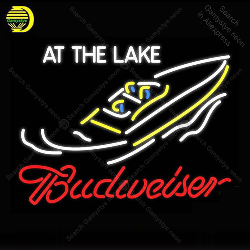 Neon sign For Budweiser At The Lake Neon Bulb sign Business display Iconic Handcraft Lamp advertise Letrero enseigne lumine