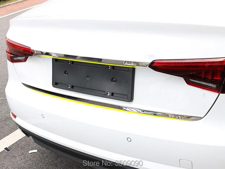 For Audi A4 B9 4DRS 2016 2017 2018 Sedan Refit Rearguards Trunk Rear Bumper Tail Box Chrome Trim Sticker Garnish Car Styling car body styling abs chrome rear tail spoiler side triangle window bezel trim 1pcs for honda civic 10th sedan 2016 2017 2018