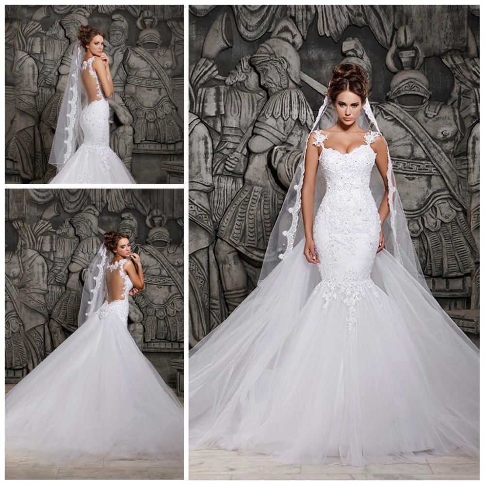 2016 Designers White Lace And See Through Mermaid Wedding Dresses With Removable Train Bridal Tulle In From Weddings Events On