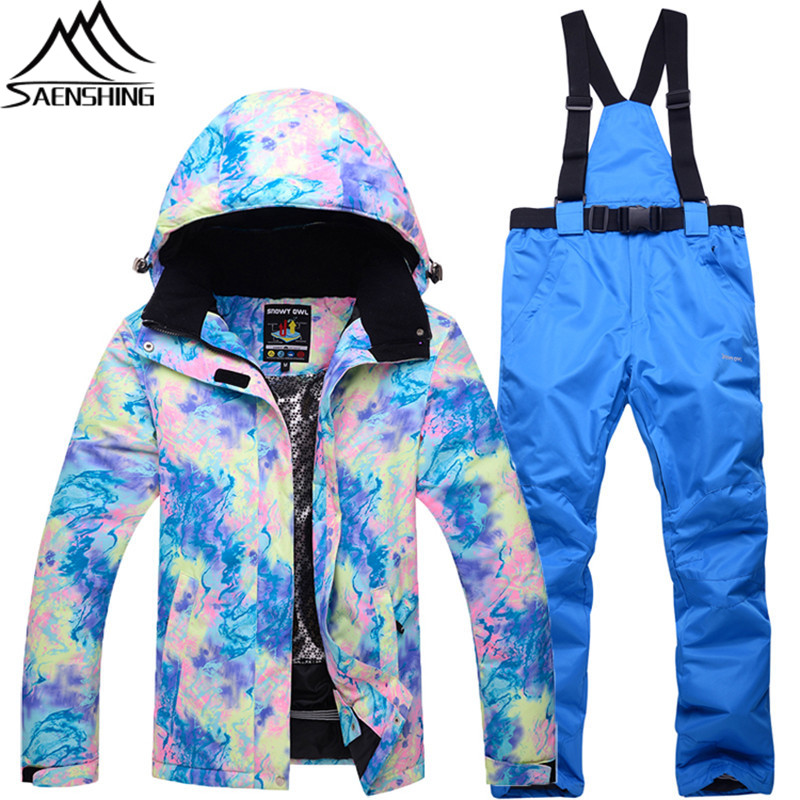 Winter New Ski Suit Female Waterproof Breathable Mountain Skiing Suit Outdoor Sports Womens Ski Suits Snowboarding Suits 2018 new winter yoga suit five piece female ms breathable coat of cultivate one s morality pants sports suits running fitness