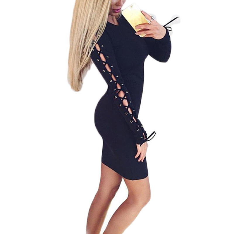 Buenos Ninos Elegant knitted bodycon dress women Black Hollow long-sleeved lace sexy party dresses Autumn winter midi vestidos buenos ninos long sleeve lace sexy long dress flowers hollow out