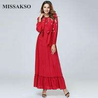 Missakso Autumn New Long Dresses Winter O Neck Casual Long Sleeves Sashes Embroidery Tassel Sweet Elegant Lady Maxi Red Dresses