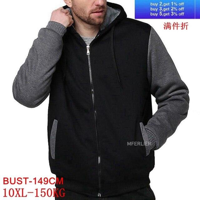 Tamanho grande jaqueta masculina tamanho grande 7xl 8xl 9xl 10xl com capuz outono e inverno manga longa zíper espessamento velo quente preto gra