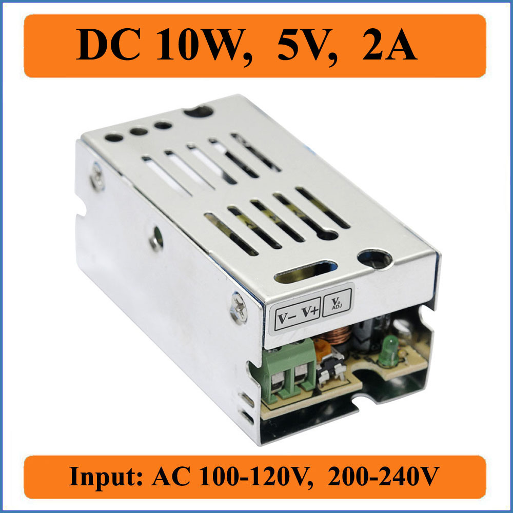 10W 5V 2A Switching Power Supply Small Volume Single Output AC100-240V Voltage Transformer to DC 5V for LED Strip lights Display
