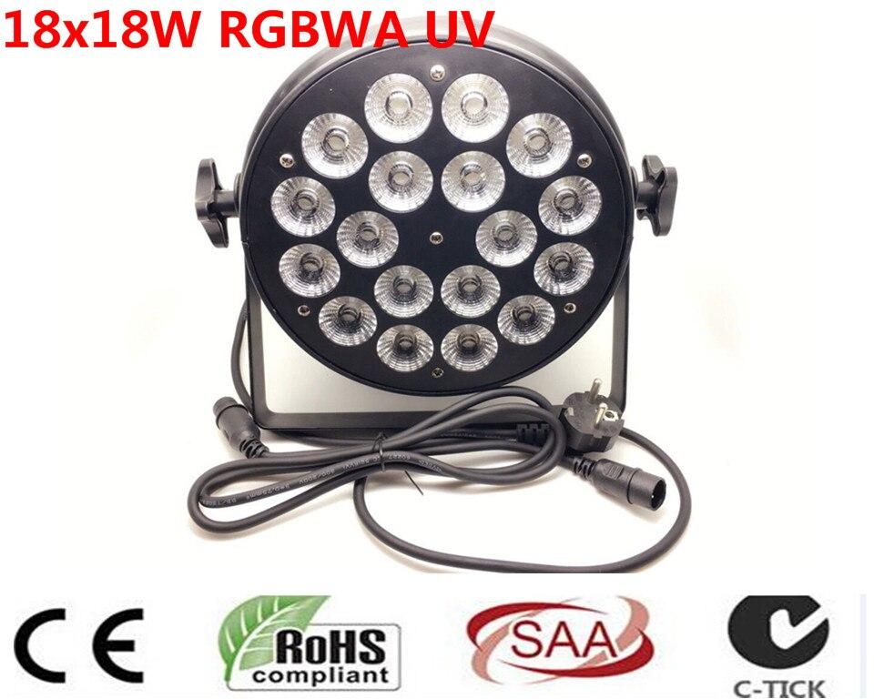 DJ Par Lattine Lattine Par RGBWA UV 6IN1 18X18 W LED Valutazione Impermeabile IP20 In Alluminio Alloggiamento Nero 90 V-240 V dj par lattine lattine par rgbwa uv 6in1 18x18 w led valutazione impermeabile ip20 in alluminio alloggiamento nero 90 v 240 v